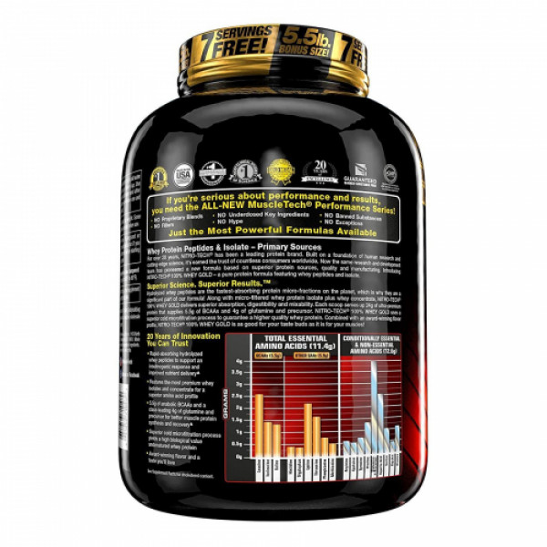 Muscletech Nitro Tech Whey Gold Double Rich Chocolate, 2.51kg
