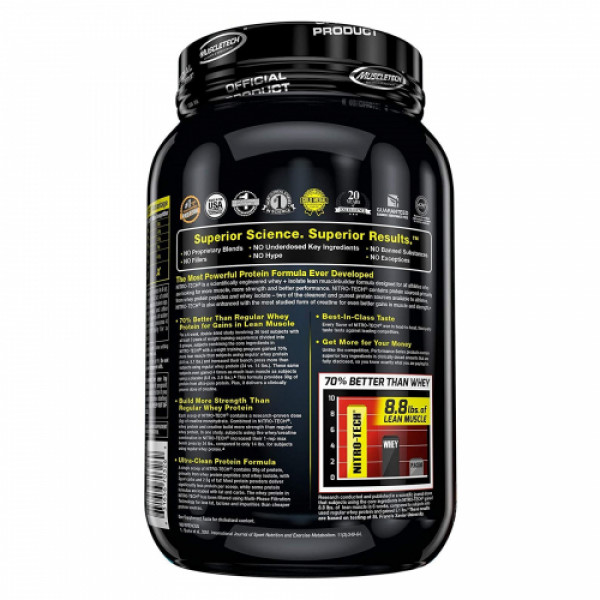 Muscletech Nitro Tech Whey Protein Peptides & Isolate Strawberry, 998gm