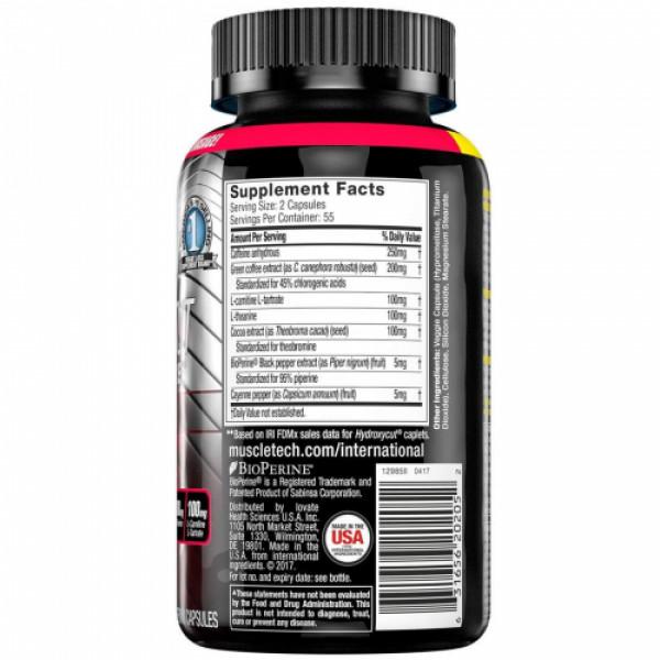 Muscletech Hydroxy Cut Hardcore Elite, 110 Capsules