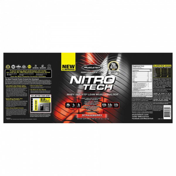 Muscletech Nitro Tech Whey Isolate + Lean Muscle Strawberry, 1.81kg