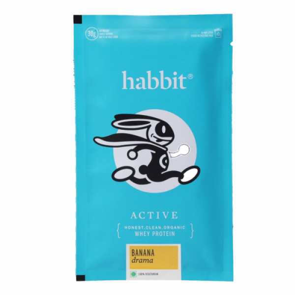 Habbit Active Whey Blend Protein Powder Banana Drama Flavour, 210gm (7 Servings)