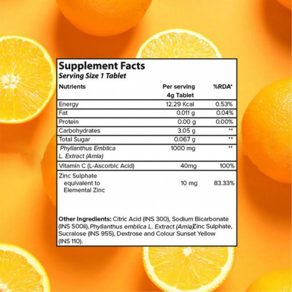 Plix Life Vitamin C 1000mg Amla & Zinc Effervescent Orange Flavour, 15 Tablets (Pack Of 2)