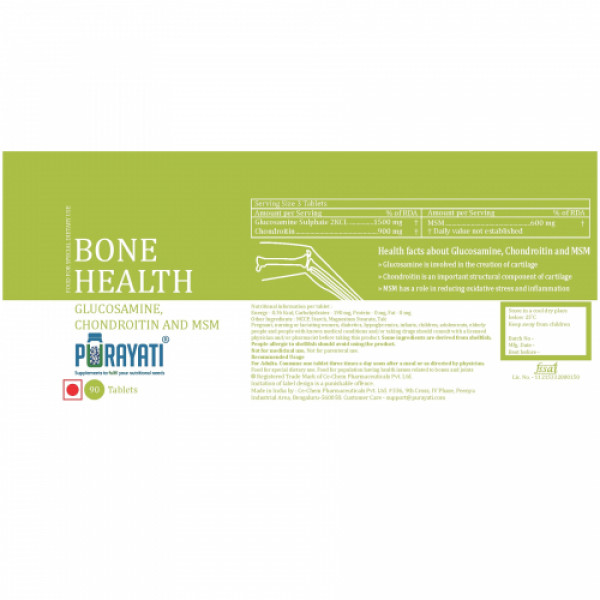 Purayati Bone Health Glucosamine Chondroitin and MSM, 90 Tablets