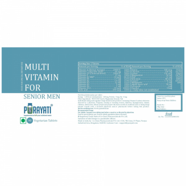 Purayati Multivitamin for Senior Men, 90 Tablets