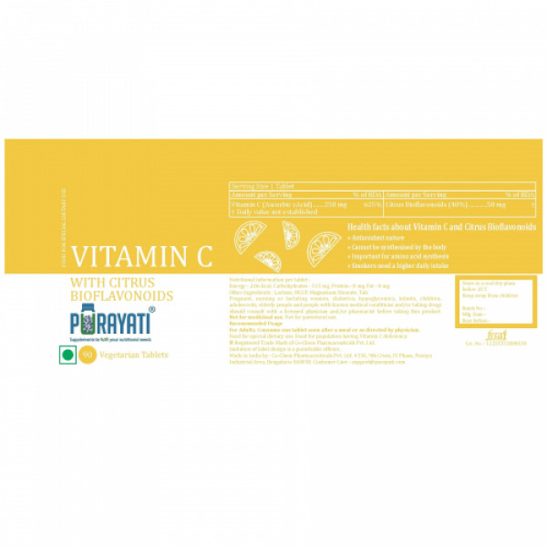 Purayati Vitamin C with Citrus Bioflavonoids, 90 Tablets