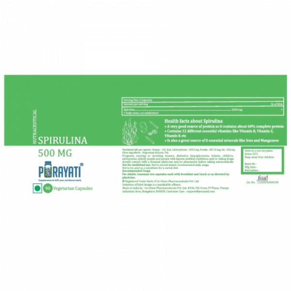 Purayati Spirulina 500 mg, 90 Capsules