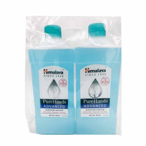 Himalaya PureHands Advanced Disinfectant Hand Rub 80% Alcohol, 750ml+750ml (With Refill Pack)