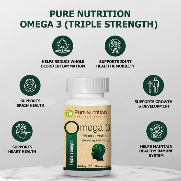 Pure Nutrition Omega 3 Marine Fish Oil, 60 Capsules