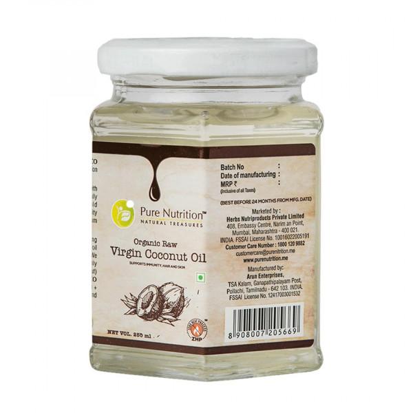 Pure Nutrition Raw Cold Pressed Virgin Coconut Oil, 250ml