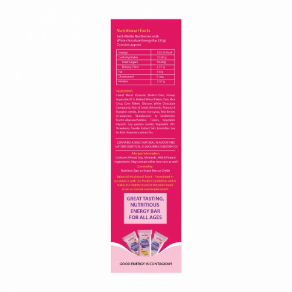 Mettle Red Berries With White Chocolate Energy Bar, 35gm (Pack Of 12)