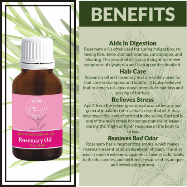 Avnii Organics Natural Rosemary Essential Oil, 15ml