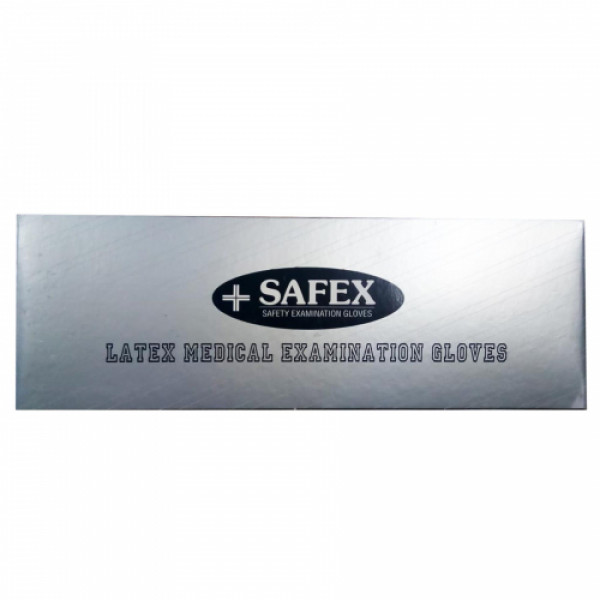 Safex Latex Disposable Gloves (Medium), Pack Of 100
