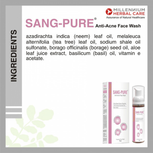 Millennium Herbal Care Sang-Pure Anti Acne Foam Face Wash, 70ml