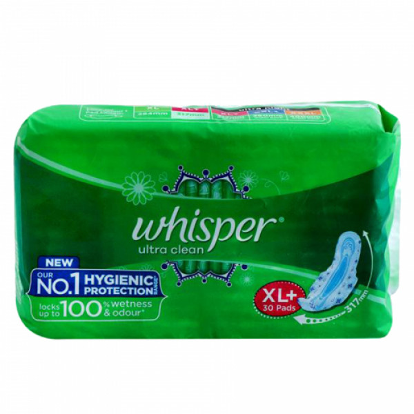 Whisper Ultra Clean Sanitary Pads XL+, 30 Pieces