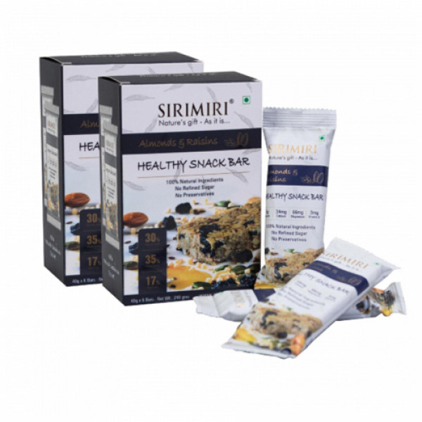 Sirimiri Almonds & Raisins Nutrition Bar, 40gm (Pack Of 12)