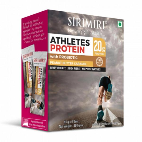 Sirimiri Probiotic Athletes Peanut Butter Caramel Protein Bar, 65gm (Pack Of 6)