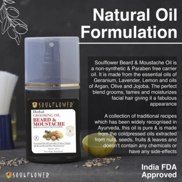 Soulflower Herbal Beard & Moustache Grooming Oil, 120ml