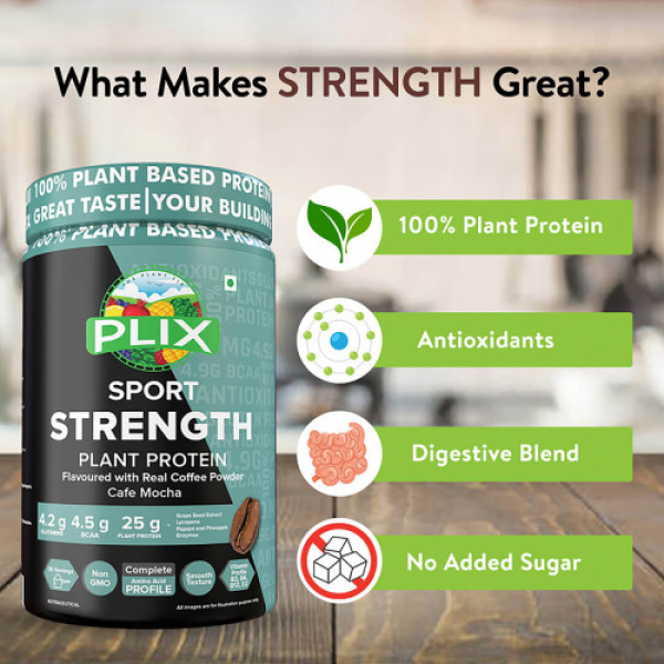 Plix Sport Strength Vegan Post Workout Cafe Mocha Protein Powder, 500gm