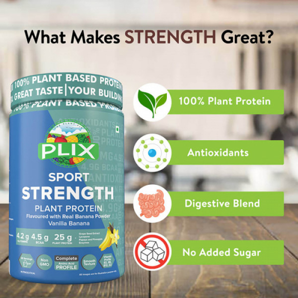Plix Sport Strength Vegan Post Workout Vanilla Banana Protein Powder, 1kg