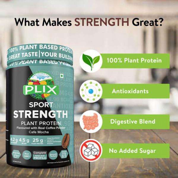 Plix Sport Strength Vegan Post Workout Cafe Mocha Protein Powder, 1kg