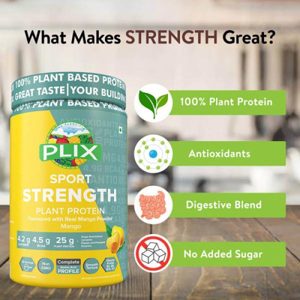 Plix Sport Strength Vegan Post Workout Mango Flavour Protein Powder, 2kg