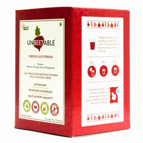 Unbeetable Fibrous Juice Premix - No Added Sugar,  15 Sachets