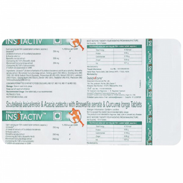 Innovcare's INS3Tactiv, 10 Tablets