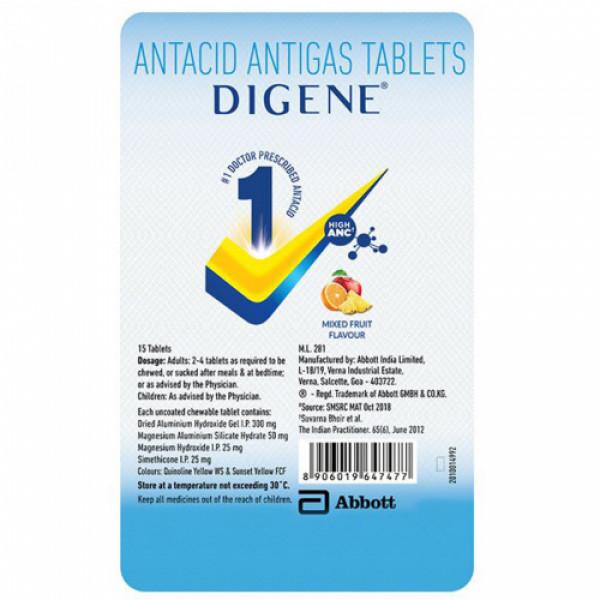 Digene, 15 Tablets (Mix Fruit  Flavour)