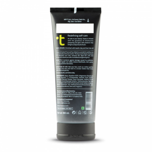 Twasa Activated Charcoal Face Wash, 100ml