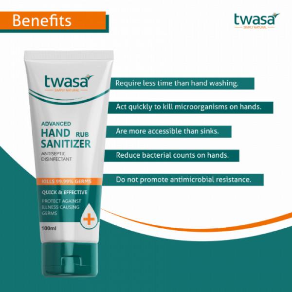 Twasa Advanced Hand Rub Sanitizer Antiseptic Disinfectant, 100ml (Pack of 3)