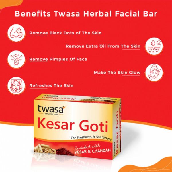 Twasa Kesar Goti Chandan Facial Soap, 25gm (Pack Of 6)