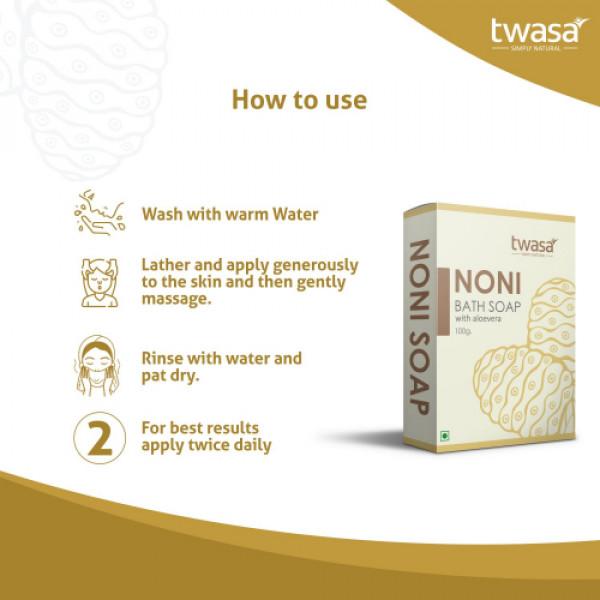 Twasa Noni With Aloevera Bath Soap, 100gm (Pack Of 4)