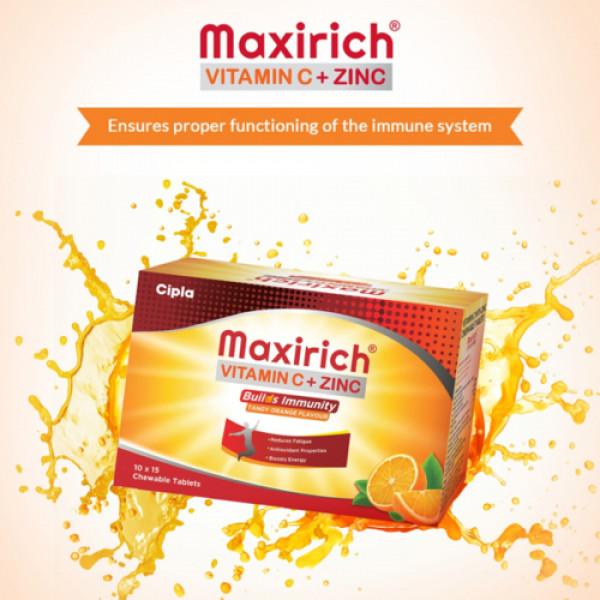 Maxirich Vitamin C+ Zinc Chewable, 150 Tablets