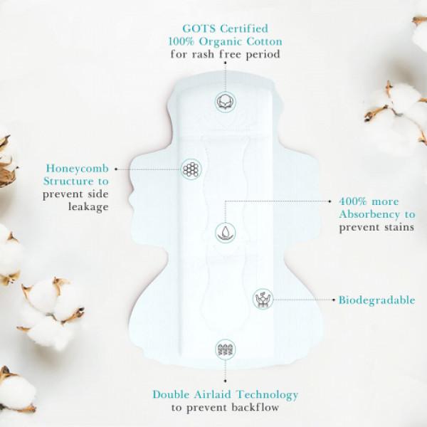 Hi Life Ultra-Soft Organic Sanitary Pads, 10 Pieces