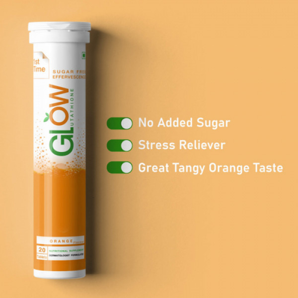 GlowGlutathione Orange Effervescent, 20 Tablets