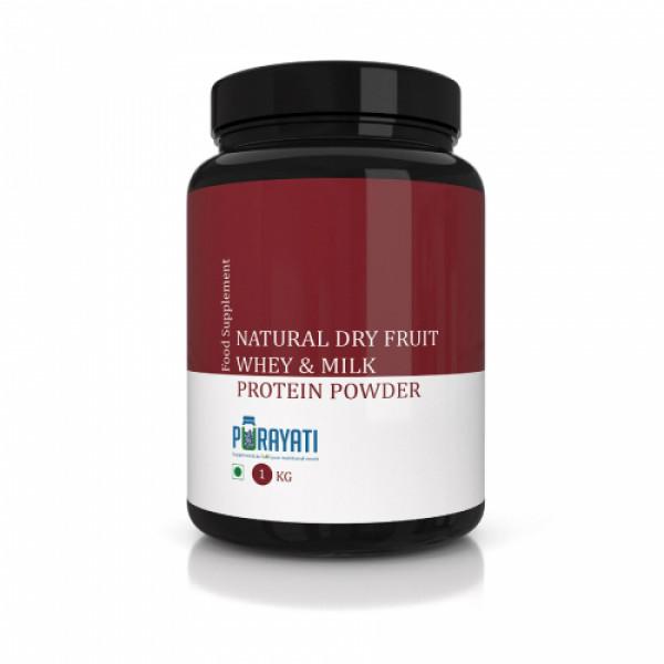 Purayati Natural Dry Fruit Whey & Milk Protein Powder, 1kg