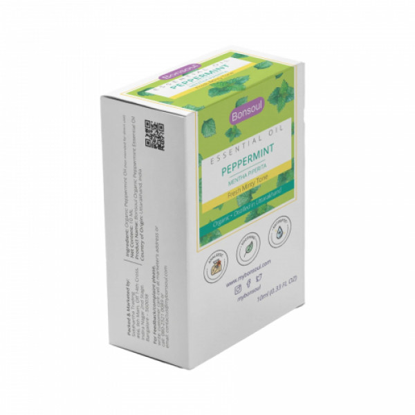 Bonsoul Organic Peppermint Essential Oil, 10ml