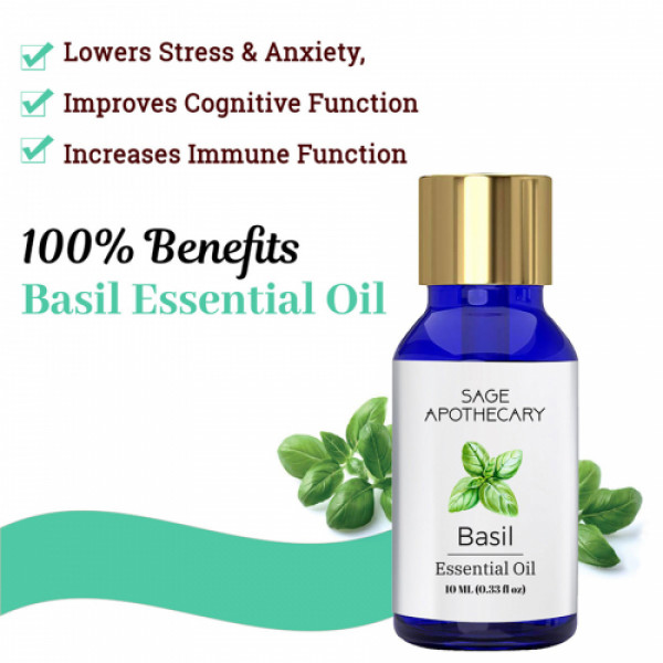 Sage Apothecary Basil Essential Oil, 10ml