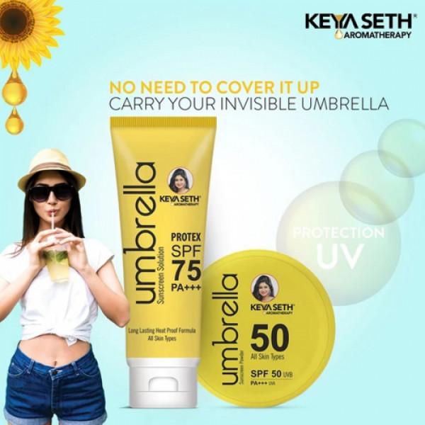 Keya Seth Aromatherapy Umbrella Sunscreen Combo SPF 75 Solution SPF 50 Powder (Pack of 2)