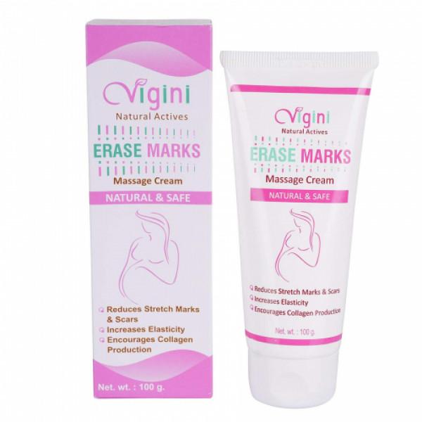 Vigini Natural Actives Erase Marks Massage Cream With Erase Marks Massage Oil, 100gm (Pack Of 2)
