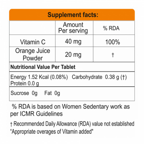 Nlife Vitamin C Non Chewable, 60 Tablets