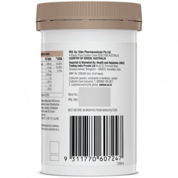 Swisse Ultiboost Vegan Calcium + Vitamin D Supplement for Immunity, Bones & Muscle Health, 60 Tablets