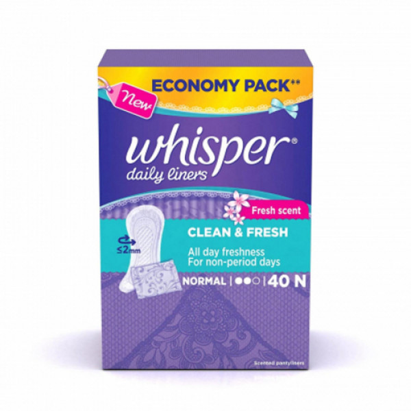 Whisper Clean and Fresh Daily Liners, Normal  40 Pieces