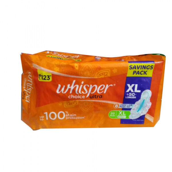 Whisper Choice Sanitary Pads, XL 20 Pieces