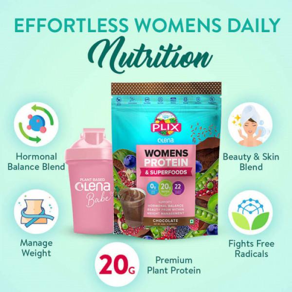 Plix Olena Plant-Based Women's Protein & Super Foods Chocolate Flavour, 15 Servings