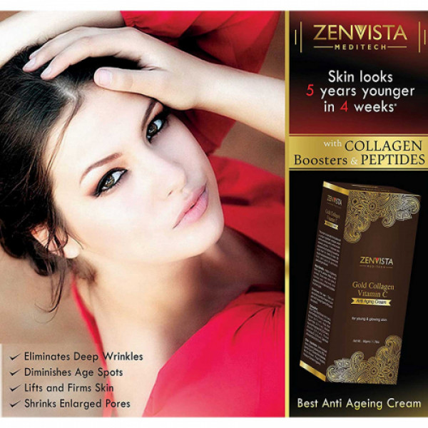 Zenvista Gold Collagen & Vitamin C Anti Ageing Cream, 50gm