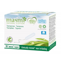 Masmi Organic Cotton Non-Applicator or Digital Super, 18 Tampons