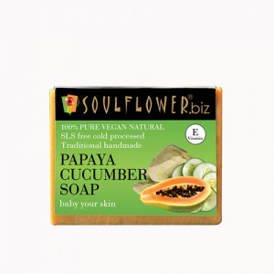 Soulflower Papaya Cucumber Soap, 150gm
