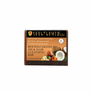 Soulflower Reetha, Coconut Milk Hair Cleansing Bar Soap, 150gm