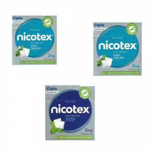 Nicotex 2mg Paan, Teeth Whitening Mint Plus & Classic Fresh Mint Flavour, Pack of 3